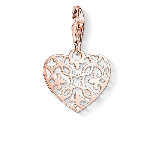 Thomas Sabo Damen Charm-Anhänger Arabesque Herz 750 Roségold Vergoldung 925 Sterling Silber 1498-415-12