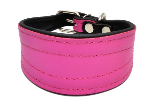 Collar fabricado en cuero rosa para perros y cachorros
