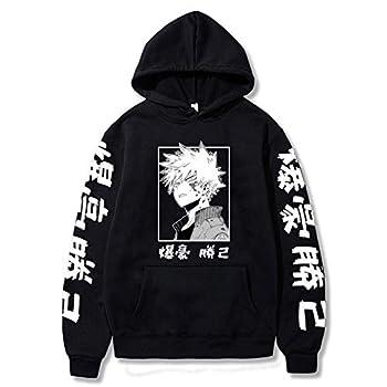 JMSUN My Anime Hero Academia Bakugou Hoodie Sweatshirts Men Women Pullover Casual Sweatshirts Harajuku Tracksui Black