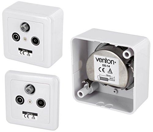Venton DD14 Antennendose, SAT TV Radio Kabel, Aufputz- Unterputz-dose, 3-fach Durchgangsdose und Stich- Enddose, SCR und Unicable, digital Multimedia DVB-S2 C T2, Anschlussdämpfung 14dB