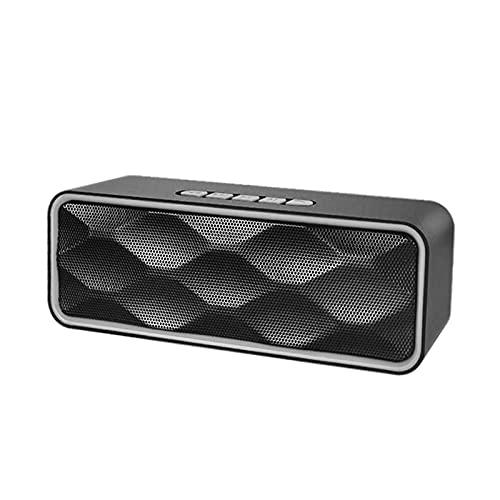 MagiDeal Altavoz Bluetooth Recargable HD Sonido ABOERING Bass USB AUX AUX Incorporado Mic Altavoces para Exteriores para Party Indoors Smartphones Manos Libres - Plata