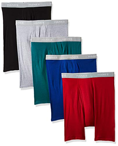 Hanes Men's Tagless Exposed Waistband Boxer Briefs, Assorted, Medium