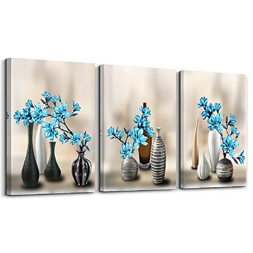 Schilderij - Vazen met blauwe bloemen, 120x80cm, 3 luik - Canvas - Muurdecoratie