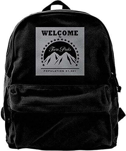 Yuanmeiju Mochila de Lona Twin Peaks Paramount Logo Mochila Gimnasio Senderismo Laptop Bolso de Hombro Mochila para Hombres Mujeres