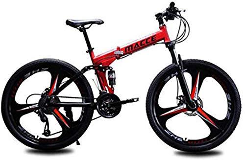 RDJSHOP Bicicleta de Montaña Plegable para Adultos, Bicicleta 24/26 Pulgadas con Freno de Disco Doble 21 Velocidades Estructura de Acero Al Carbono Bicicleta MTB con Rueda de 3 Radios,Red-26inch