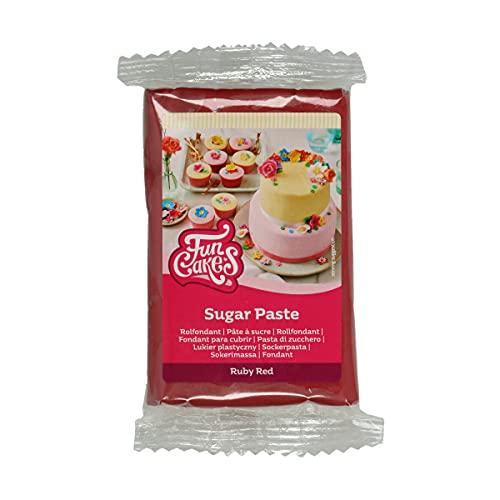 FunCakes Pasta di Zucchero Ruby Red: facile da usare, liscia, flessibile, morbida e pieghevole, perfetta per decorare torte, halal, kosher e senza glutine. 250 gr