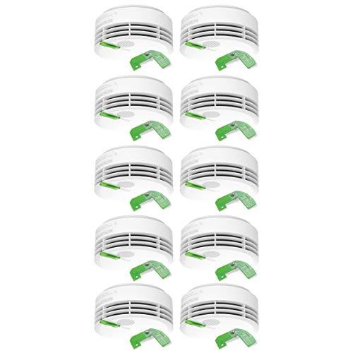 Hekatron 31-5000021-16-01 Rauchmelder Genius PLUS X inkl. Funkmodul Basis X – Optional funk-vernetzbar – 10 Jahre Lebensdauer der Batterie & mehrfarbig LED – Rauchwarnmelder in Weiß – 10er Set