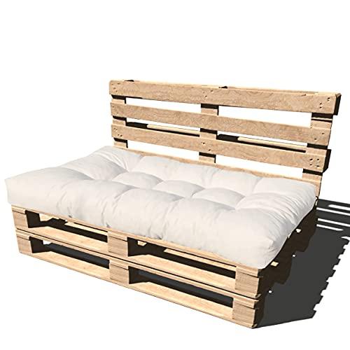 Cuscino per Bancale 120x80x15 cm - Cuscino per Seduta Divano Pallet di legno - COLORE PANNA