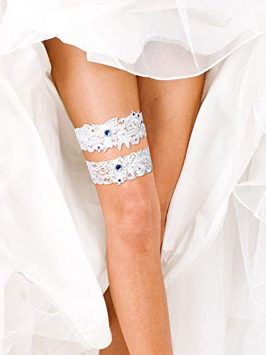 2 Pieces Wedding Bridal Garters Lace Garters Floral Garters with Blue Rhinestone for Wedding Party (White)