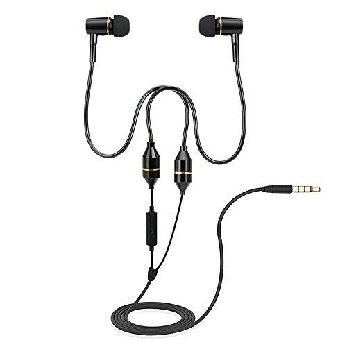 Docooler In Ear Kopfhörer Anti Strahlung Air Tube Stereo Musik Headset 3,5 mm Kopfhörer Strahlung frei Rauschunterdrückung Line Control mit Mikrofon Schwarz für Smartphones Desktop Tablet PC