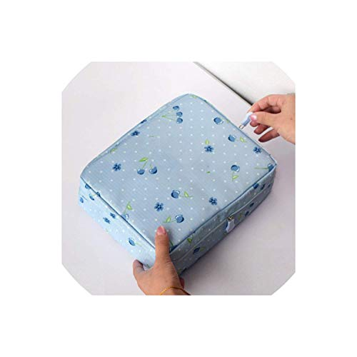 ShuuHaYi Women Cosmetic Bag Organizer Waterproof Portable Makeup Bag Travel Beauty Case Wash Pouch,Onesize,Bluedot