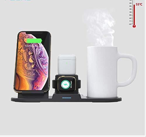 4 In 1 15w Qi Wireless Ladegerät Mit Intelligentem Thermostat Cup Wireless Ladestation Pad Für Iphone Watch Airpods