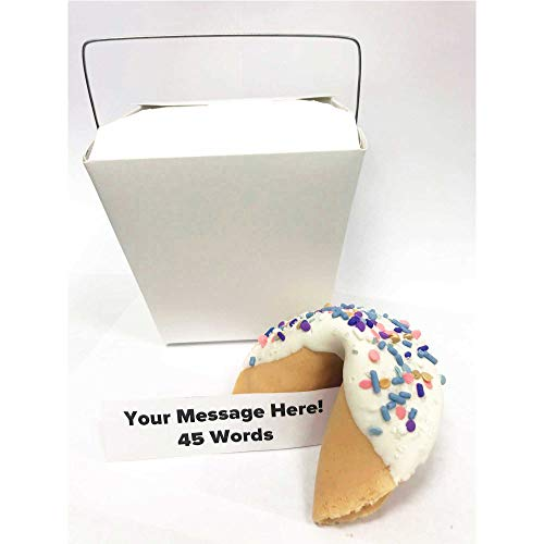 Jumbo Custom Fortune Cookie | Personalize Your Message | Hand Dipped in Chocolate | 'Gold Rush' Sprinkles