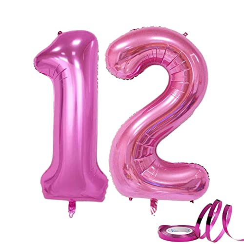 Globos Número 12 Grande XXL 40 pulgadas 100cm Número 12 / Número 21 Rosa Globos de Números Aluminio Globos 12 años Cumpleaños/ Globos 21 años Cumpleaños Decoración de fiesta 12 °Boda Aniversario