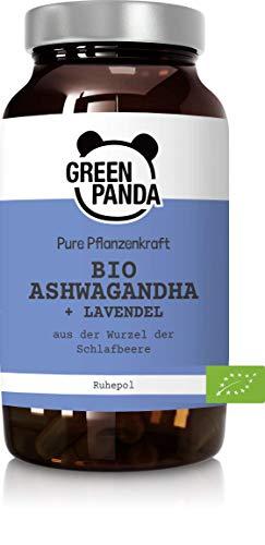 Green Panda© Bio Ashwagandha mit Lavendel, 120 vegane Kapseln hochdosiert im Glas-Behälter, natürlicher Rohepol aus der Wurzel der Schlafbeere mit Lavendel, Premium Bio Qualität für eine Gute Nacht