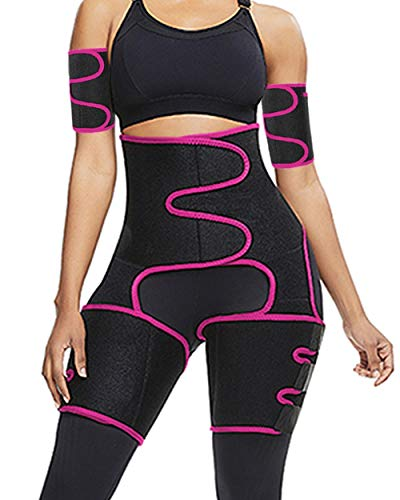 Reshe 4 in 1 High Waist Arm and Thigh Wast Trainer for Women,Sweat Band Loss Weight Waist Trimmer Plus Size