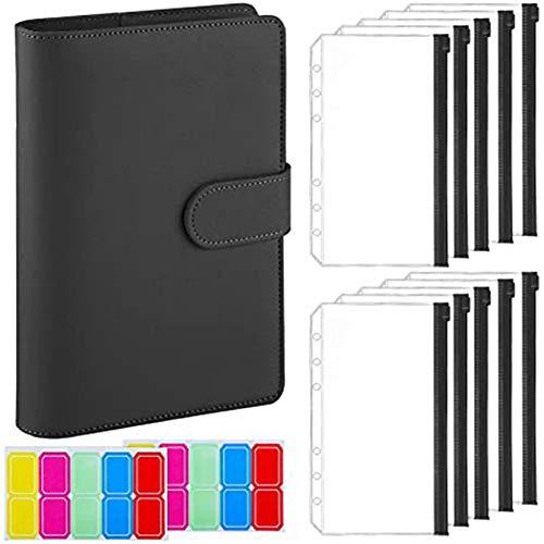 Fayme 12 carpetas tamaño A6 con funda para portátil, piel sintética, gestión de facturas, tarjetas de memoria, color negro
