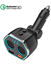 Timloon USBカーチャージャー 増設Quick Charge 3.0+5V 2.4A シガーソケット&電圧電流測定 急速充電2ポート