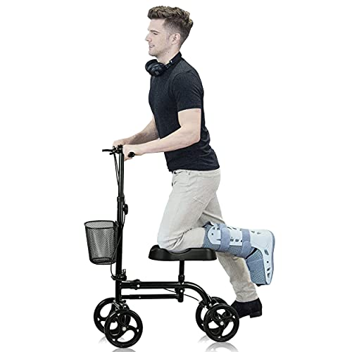 WINLOVE Black Steerable Knee Walker Roller Scooter with Basket Dual Braking System for Angle and Injured Foot Broken Economy