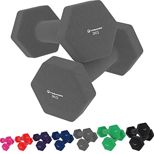 Tosaneo 2er Set Hanteln Neopren Kurzhanteln Gewichte für Gymnastik Aerobic Fitness Hantelset 2X 1,0kg bis 5,0kg Hantel 2X 3,0kg grau