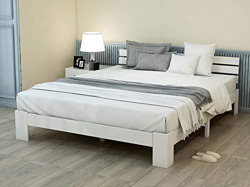 Jovego Holzbett 140x 200 cm | Massivholz Doppelbett Modern Kiefer Bett mit Kopfteil mit Lattenrost - FSC Massiv Holz Bettgestell (Weiß)