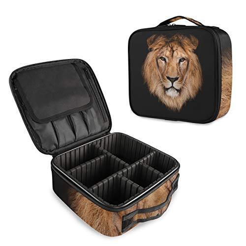 Mnsruu Trousse de maquillage portable Motif lion Noir