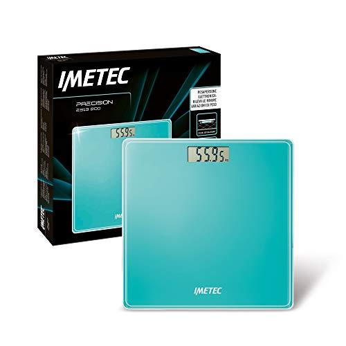 Imetec Precision ES13 200 Elektronische personenweegschaal, Rivela ook minimale gewichtsvariaties tot 180 kg, LCD-display, gehard glas, watergroen