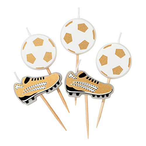 Talking Tables Football Party Shaped Cake Candles Pack of 5, White and Gold