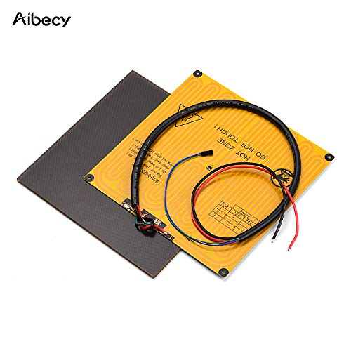 Hotbed Thermal Pad, 220 * 220mm Ultrabase Platform Glass Plate Build Surface + Aluminum Heated Bed 12V with Wire Cable for A8 A6 for ANYCUBIC I3 Mega for P802M P802E 3D Printer