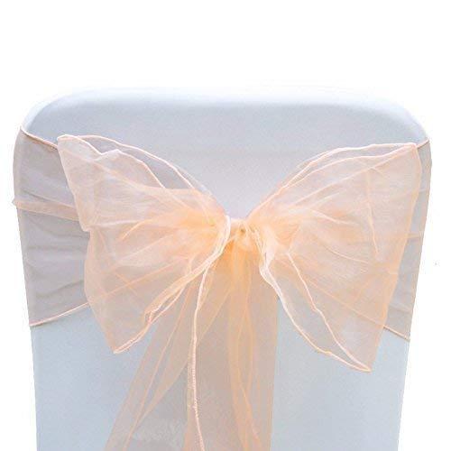 """Trimming Shop 23"""" x 108"""" (58cm x 274cm) Organza Cubierta para Silla Cintos Amplio Fuller Lazo para Boda Banquete Recepción Cumpleaños Banquete Fiesta Eventos Decoración - Melocotón, 100"""