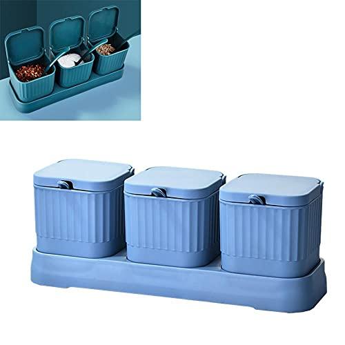 KIMIST Recipiente para condimentos de cocina con tapas y bandeja de plástico para servir azucarero, té, café y especias