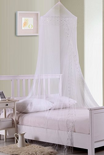 Fantasy Kids Galaxy Collapsible Hoop Sheer Bed Canopy, One Size, White