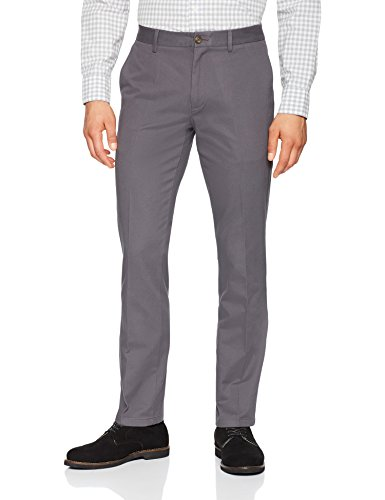 Amazon Essentials Men's Slim-Fit Wrinkle-Resistant Flat-Front Chino Pant, Grey, 34W x 32L
