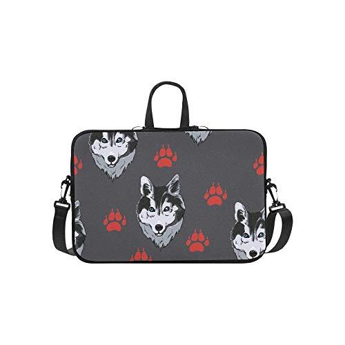 15.6″Lightweight Laptop Notebook Shoulder Backpack Bag Dog Husky Waterproof PC Briefcase Messenger with Strap