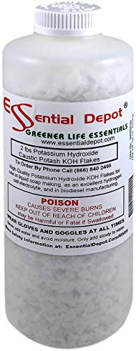 Potassium Hydroxide Flakes Koh, 2 lbs Caustic Potash Anhydrous KOH Dry Electrolyte - HDPE container with resealable Child Resistant cap (U.S, Alaska, Hawaii, Puerto Rico, Territories, APO/FPO)