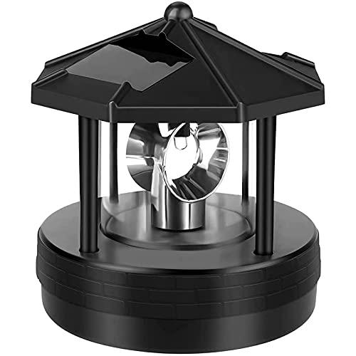 QKFON Solar Betrieben Leuchtturm, LED Drehbar Leuchtturm Garten Licht Garten Rasen Lampe, Deko Terrasse Dekorativ Licht für Außen Heim