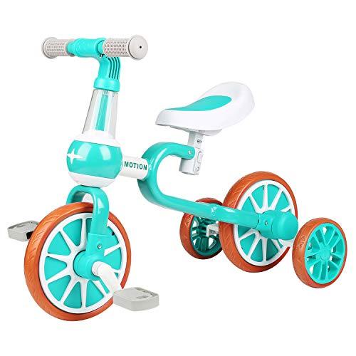 VOKUL Bicicleta infantil 3 en 1 con pedal para niños y niñas, triciclo con ruedas de apoyo, con altura del asiento ajustable, para niños de 1 a 4 años, regalo