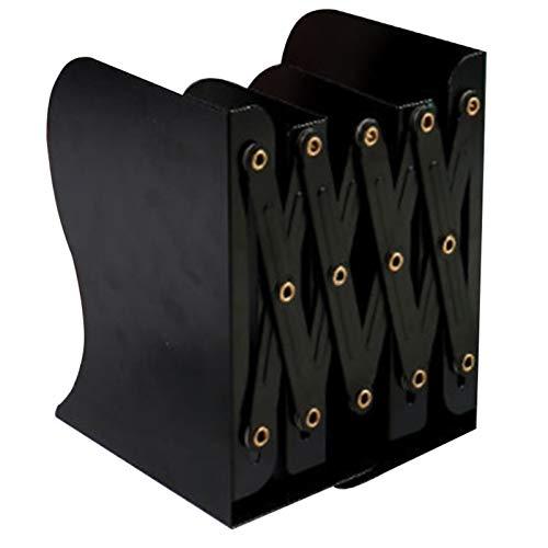 PPLAS Extensión Ajustable Lima de Metal sujetalibros de Servicio Pesado Libro de Escritorio Carpeta retráctil del Soporte del Estante estantería (Color : Black)