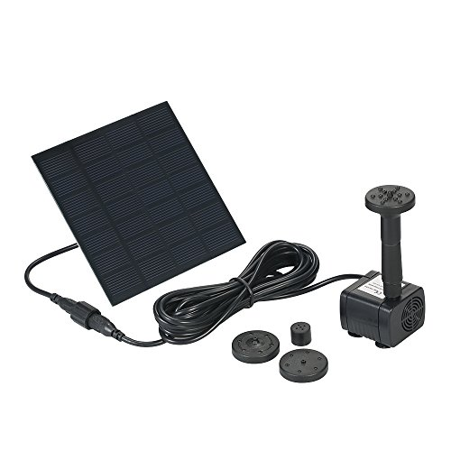 Decdeal Solar Powered Water Pump Solar Pond Pump Upgraded Submersible Fountain Pump for Bird Bath 170L/H