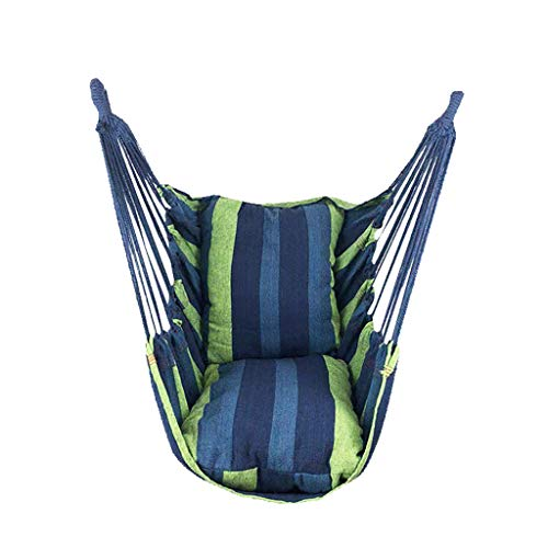 Hanging Rope Hammock Chair Hanging Rope Swing - Max 440 Lbs - 2 Seat Cushions Included - Quality Cotton Weave for Superior Comfort & Durability Perfect for Indoor/Outdoor Home Bedroom Patio