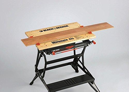 Black+Decker flexible Werkbank WM825 mit großer Arbeitsfläche / Exaktes Arbeiten dank Gradeinteilung und Orientierungslinien / Bis 250 kg belastbar / Maße (Arbeitsfläche): 74,0 x 25,0 cm - 7