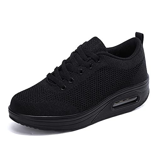 Zapatillas cuña Mujer Deportivas cuña Mujer Zapatos Deporte Gimnasio Zapatillas de Running Ligero Sneakers Cómodos Fitness Zapatos de Trabajo Negro DQ 39EU