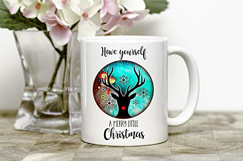 Merry Christmas Mug Christmas Decor Reindeer Mug Merry Little Christmas