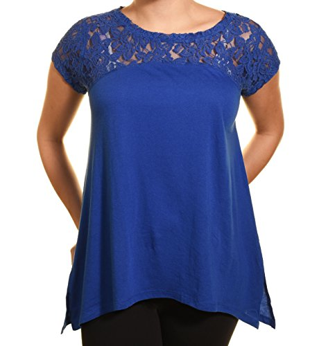 DKNY Jeans Womens Short Sleeve Lace Top (Small, Blue)
