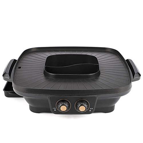 Weinset Elektrogrill Hot Pot Integrierter Kochtopf 1600W 2 in 1 Grill & Hot Pot Braten Rauchfrei und Antihaft-Doppeltemperaturregelung Schwarz BPot