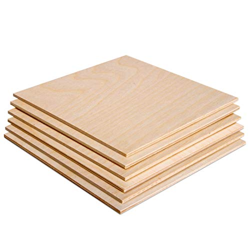 "3MM 1/8"" x 12"" x 12"" Baltic Birch Plywood – B/BB Grade (Pack of 6) Perfect for Arts and Crafts, School Projects and DIY Projects, Drawing, Painting, Wood Engraving, Wood Burning and Laser Projects"