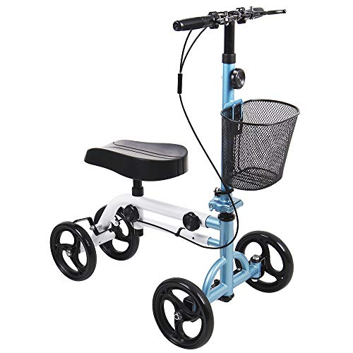 Give Me Dual Best Value Knee Scooter Steerable Knee Walker Crutch Alternative with Dual Braking System in Blue
