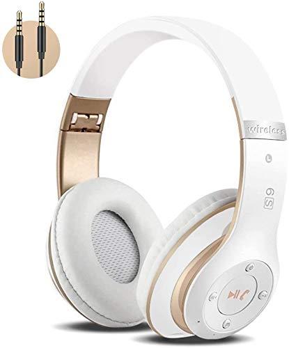 Auriculares Cerrados Inalámbricos 6S, Alta fidelidad Estéreo Auriculares Estéreo Inalámbricos Plegables, Micrófono Incorporado, Micro SD/TF, FM (para iPhone/Samsung/iPad/PC) (Blanco y Oro)