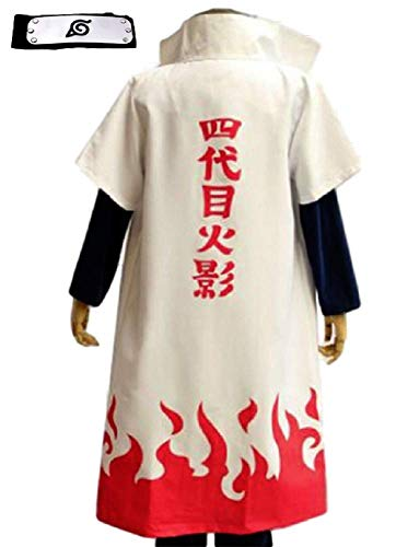 GK-O 4th yondaime Namikaze Minato Hokage Halloween Cosplay Costume Cloak Coat (Asian Size X-Large) White
