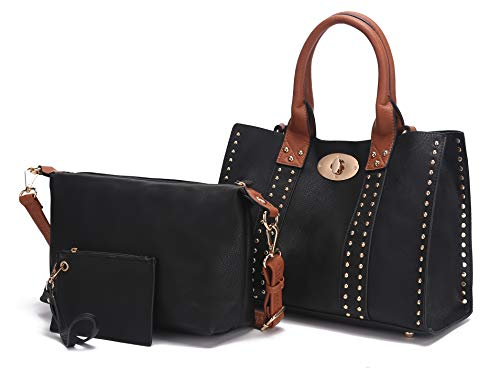 Mia K Collection 3-PC Set, Studded Tote Bag for Women, Pouch Handbag, Wristlet Purse, Crossbody Shoulder Strap PU Leather Black - Brown